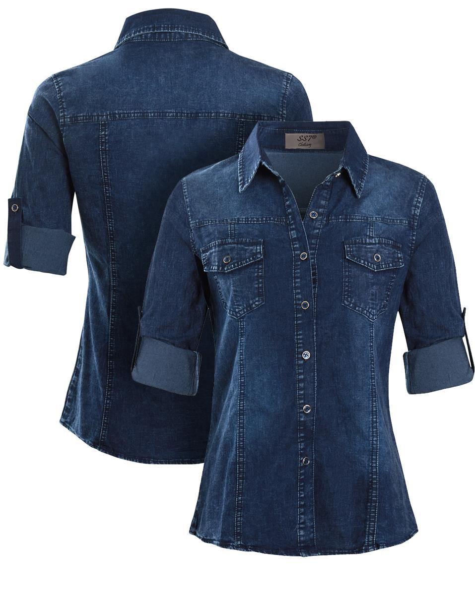 Womens-Denim-Stretch-Shirt-Ladies-Indigo-Jean-Shirts-Size-10-12-14-16-New thumbnail 3