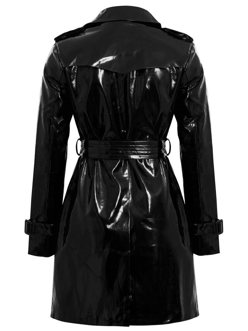 WOMENS PATENT TRENCH COAT MAC RAINCOAT LADIES NEW Size 8 10 12 14 16 Black