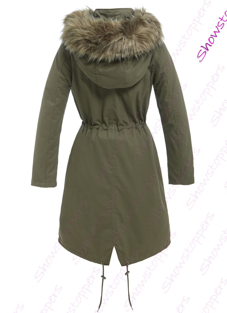 WOMENS Faux Fur PARKA PARKA PARKA FLEECE LINED LONG COAT Size 8 10 12 14 16 Fishtail Khaki 481e57