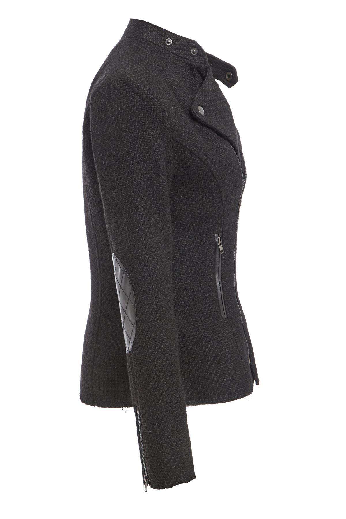 Womens-Wool-Blend-Blazer-Jacket-Ladies-Coat-Size-8-10-12-14-16-Black-New thumbnail 4