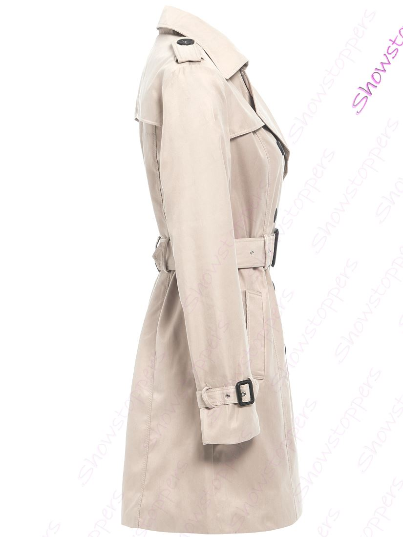 Womens-Trench-Coat-Ladies-Mac-Jacket-Size-8-10-12-14-16-Beige-Salmon-Blue miniatuur 18