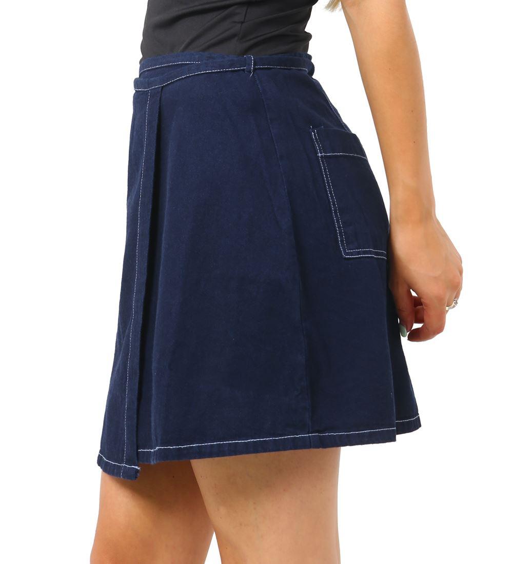 Womens-Wrap-Denim-Cotton-Skirt-Ladies-Short-skirts-NEW-Size-6-8-10-12-14-16