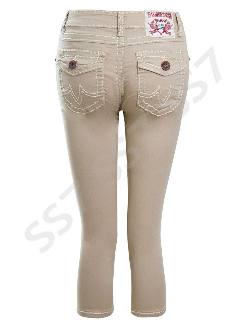 Womens Stretch Denim Twill Pedal Pusher Shorts NEW Size 8 10