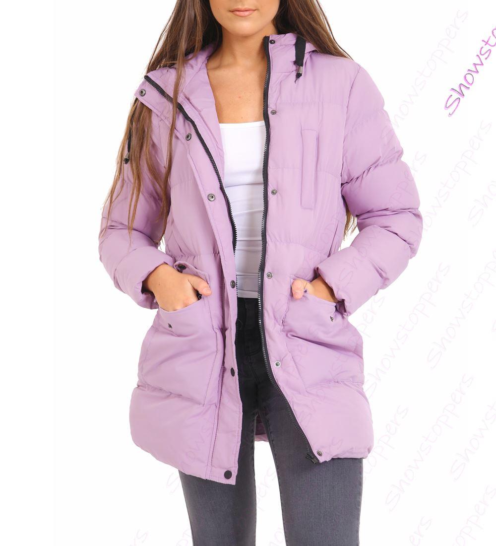 Womens Padded Coat Hooded Puffer Longline Parka Size 8 10 12 14 16
