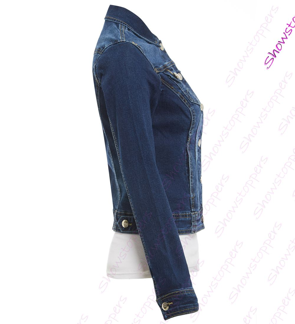 0abbd52eec3 Womens Size 14 16 18 20 Stretch Denim Jacket Ladies Indigo Jean ...