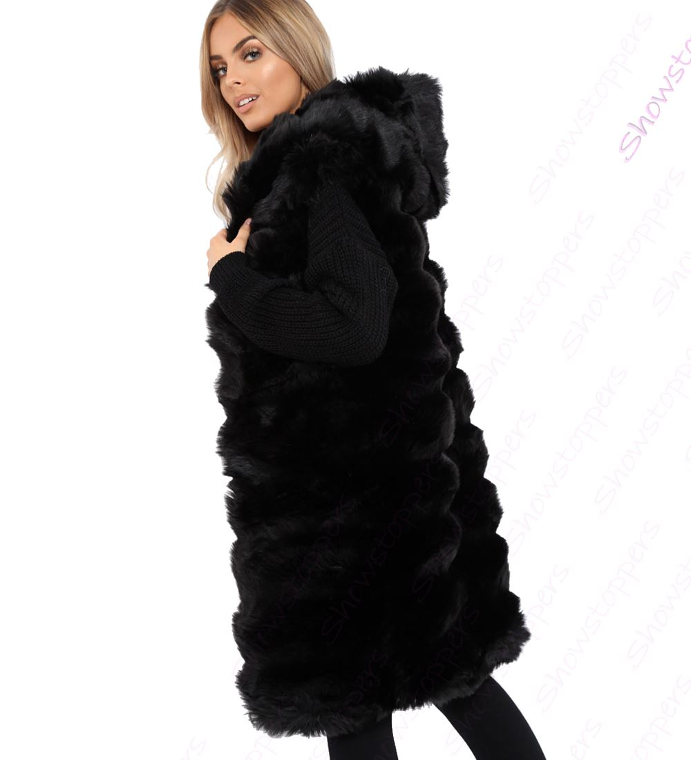 Womens-Faux-Fur-Gilet-Jacket-Bodywarmer-Soft-Fluffy-Waistcoat-Size-8-10-12-14 thumbnail 4