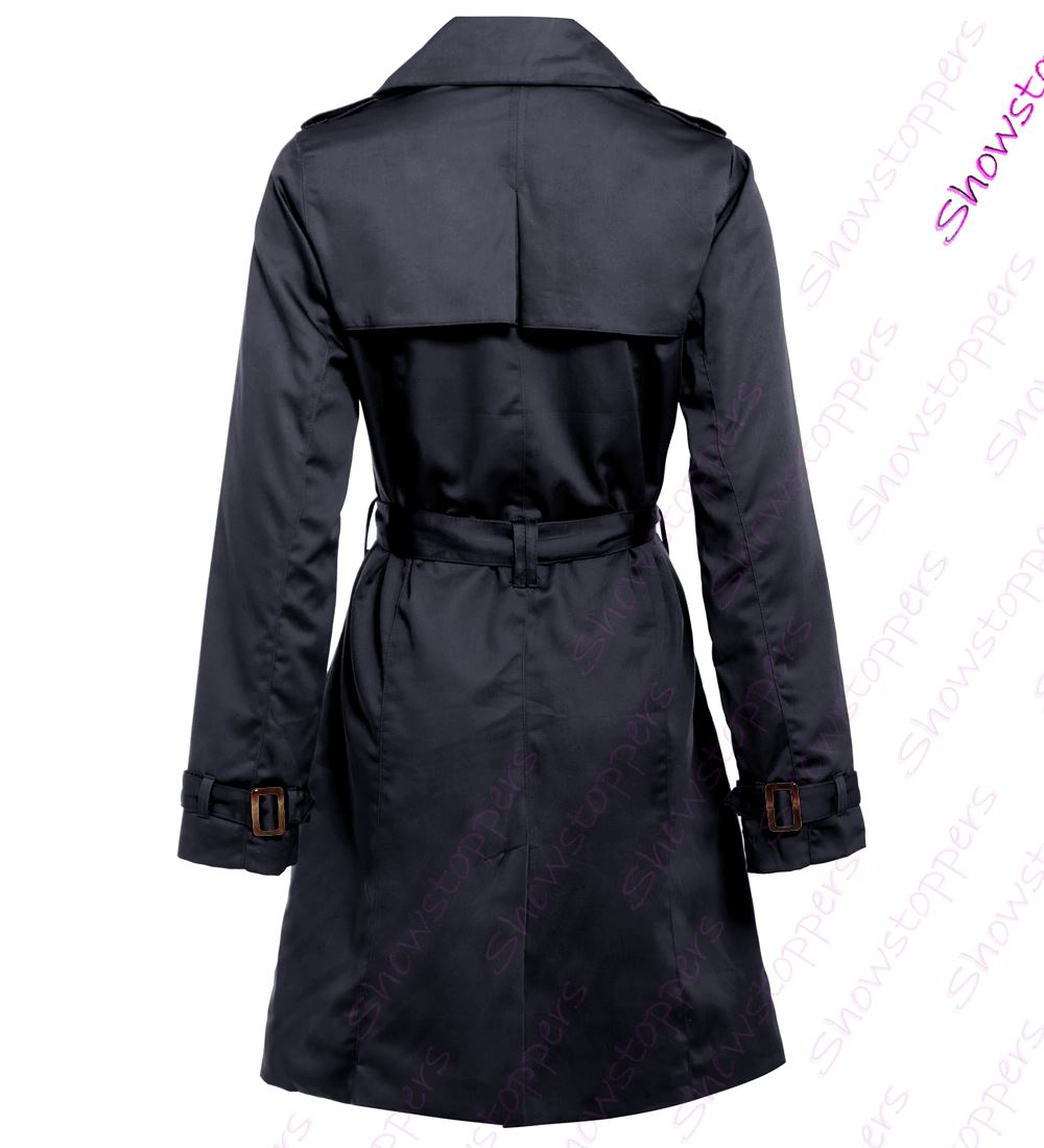 2e4eb1cb8b Details about Womens Trench Coat Ladies Mac Jacket Size 8 10 12 14 16 Beige  Navy Camel