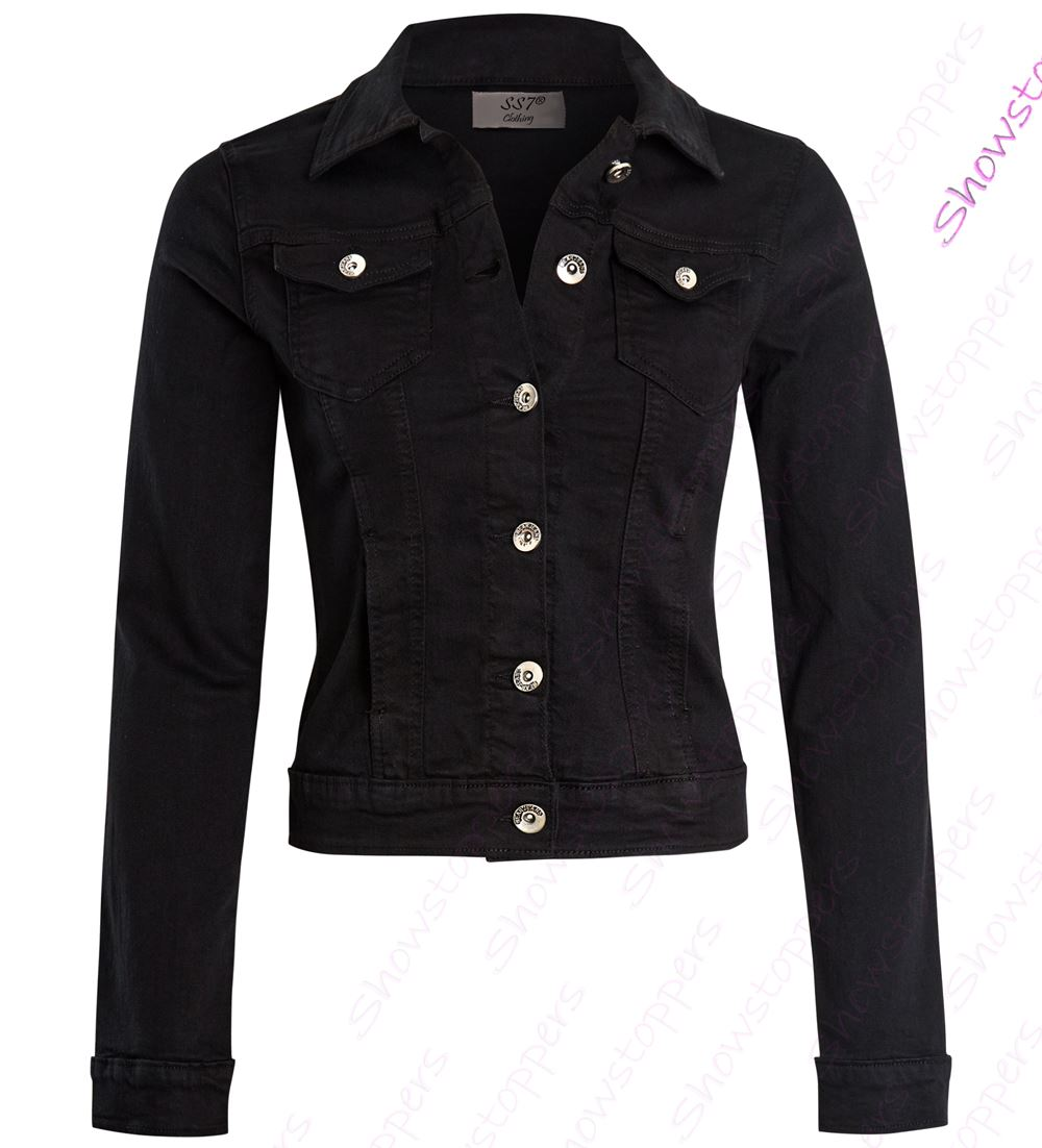 Womens Fitted Denim Jacket Ladies Stretch Black Grey Jean Jackets ... 5f19d9f9deeb
