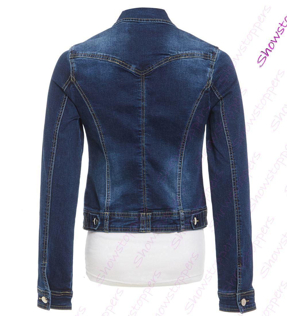 Womens-Indigo-Denim-Jacket-Ladies-Stretch-Jean-Jackets-Size-8-10-12-14-Dark-Blue