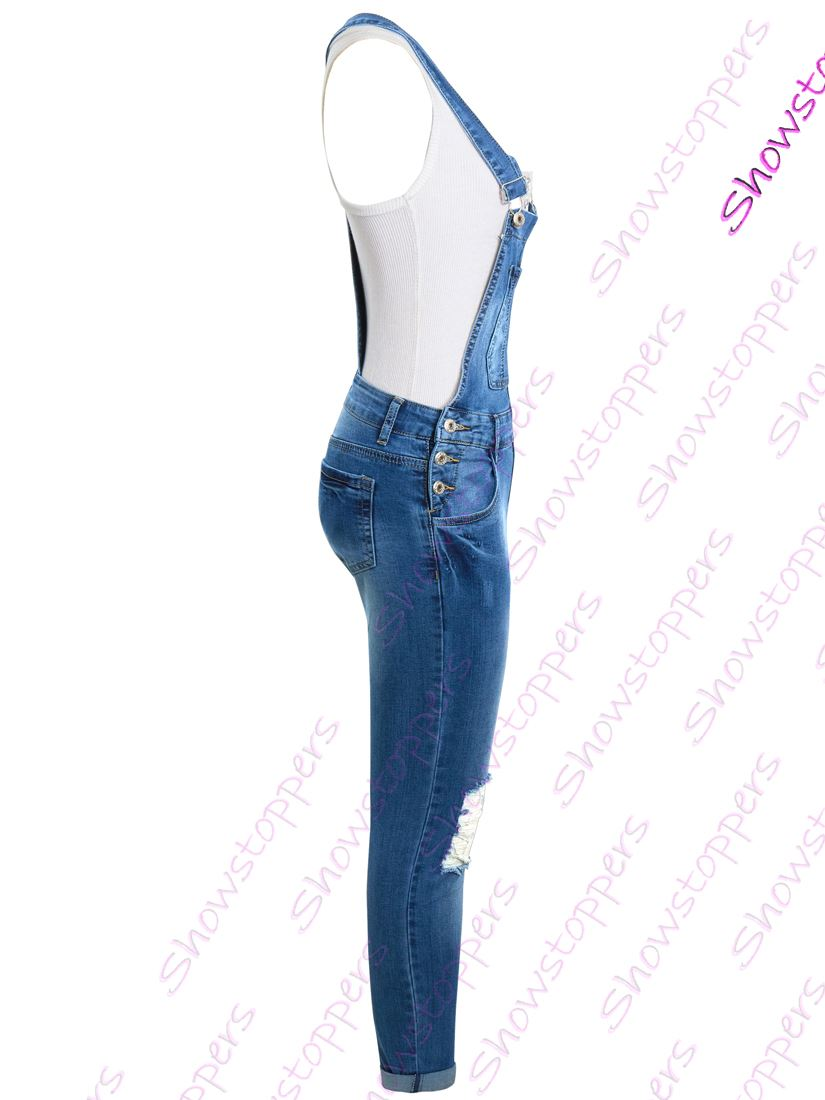 Da Donna Tuta Denim Tuta Blu Taglia 10 12 14 8 All in One