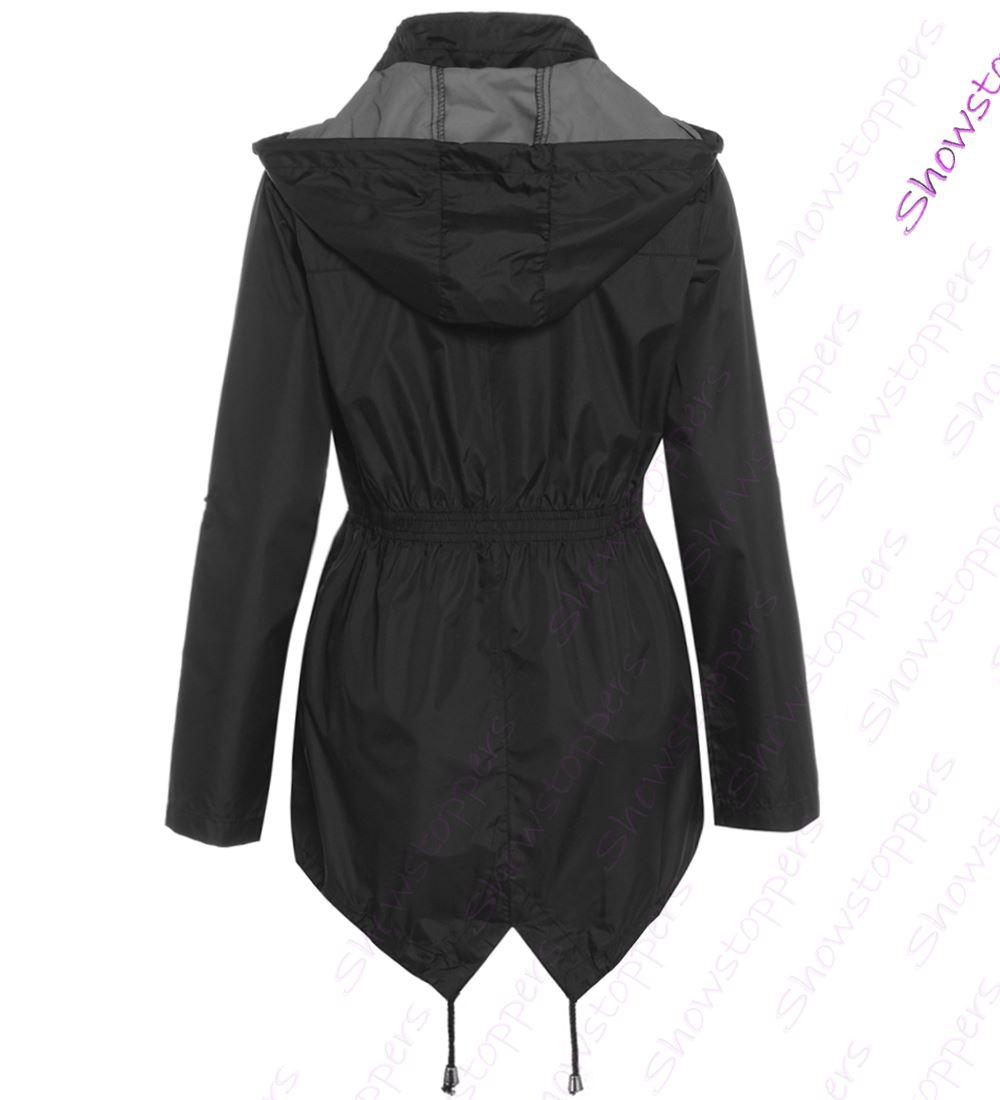 Womens Colour Change Rain Mac Showerproof Raincoat Blue Jacket Size 8-16