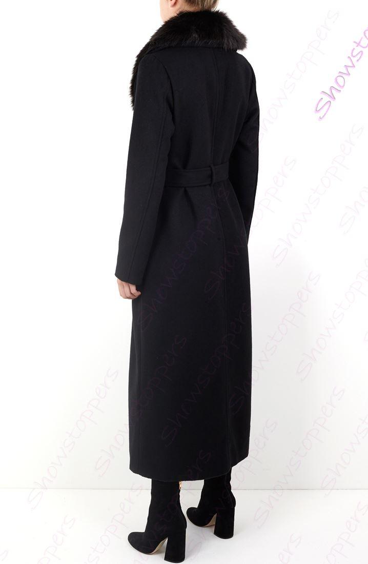 Long Elegant Wool Coat Trimmed Midi Coat Black Maxi Faux Fur Coat Classic Winter Coat Wedding Valentine/'s Christmas New Year/'s Coat- L