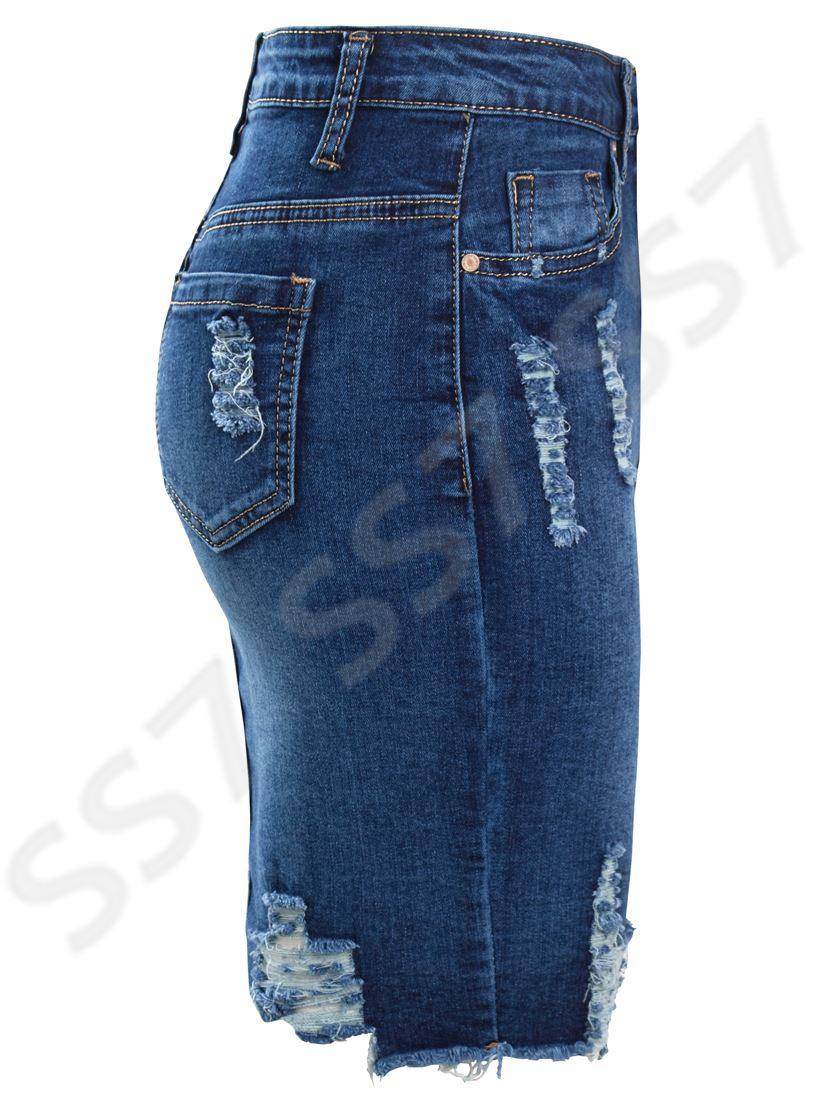 Womens-Stretch-Denim-Skirt-Ladies-Pencil-Ripped-skirts-NEW-Size-8-10-12-14-Blue miniatuur 10
