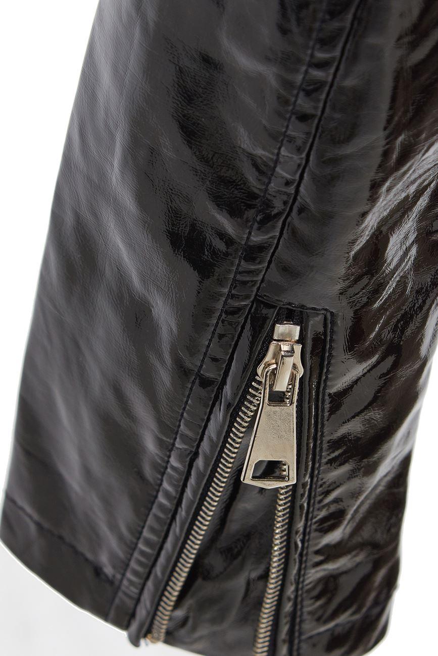 Womens-Patent-Biker-Jacket-Ladies-Size-8-10-12-14-16-PU-Black-Pink-New thumbnail 5