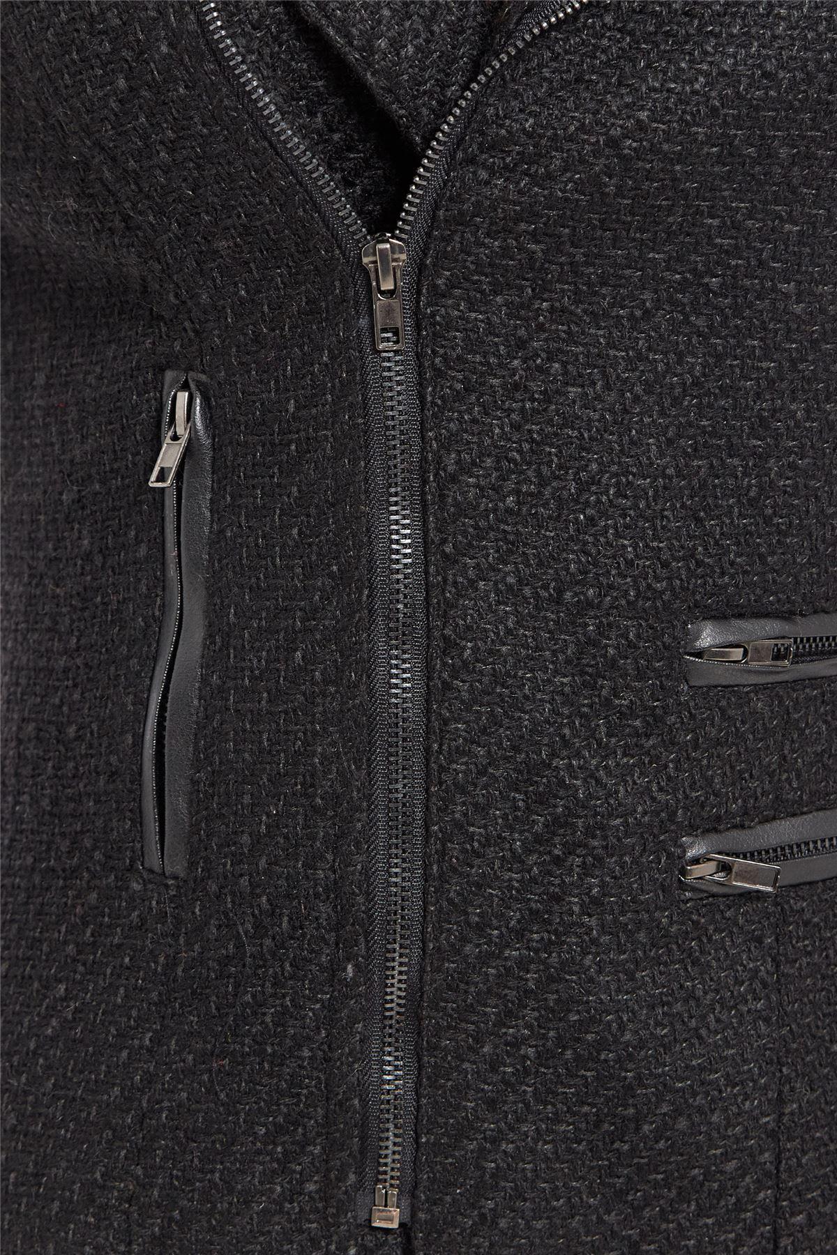Womens-Wool-Blend-Blazer-Jacket-Ladies-Coat-Size-8-10-12-14-16-Black-New thumbnail 5