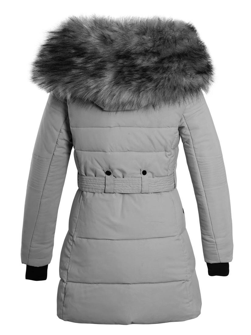 Details about Womens Puffer Jacket Parka Faux Fur Coat Size 12 8 10 14 16 Black Pink Grey