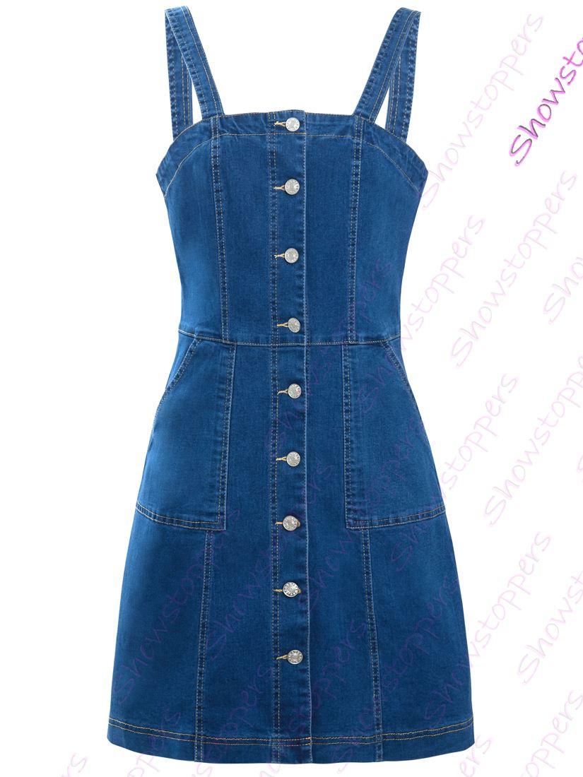 Womens-Denim-Dress-Sleeveless-Pinafore-Dresses-Size-8-10-12-14-Blue thumbnail 3