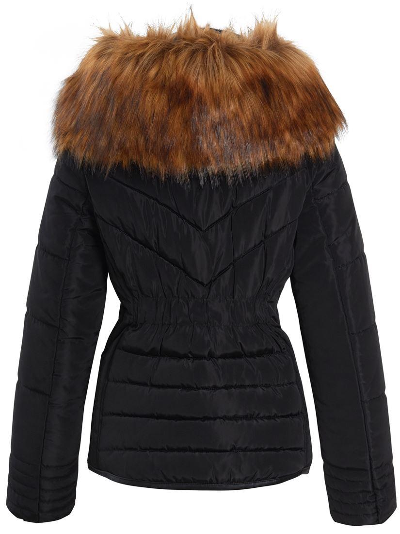 Womens Puffer Jacket Parka Faux Fur Coat Size 12 8 10 14 ...