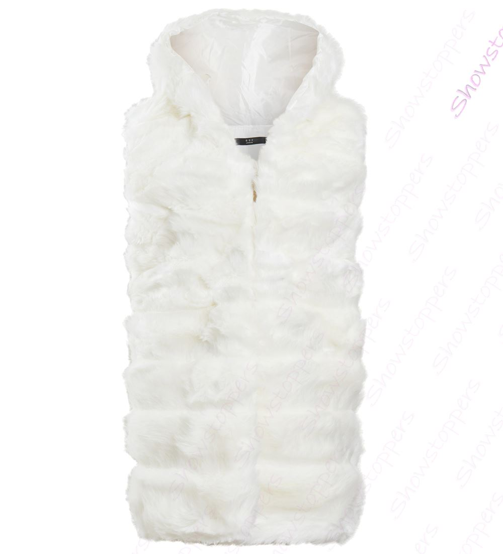 Womens-Faux-Fur-Gilet-Jacket-Bodywarmer-Soft-Fluffy-Waistcoat-Size-8-10-12-14 thumbnail 8