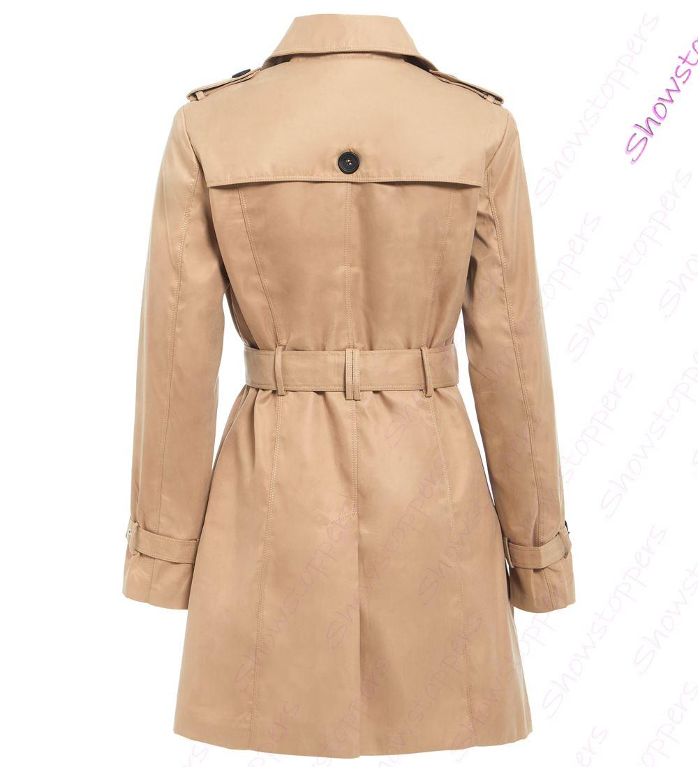 Womens-Trench-Coat-Ladies-Mac-Jacket-Size-8-10-12-14-16-Beige-Salmon-Blue miniatuur 3