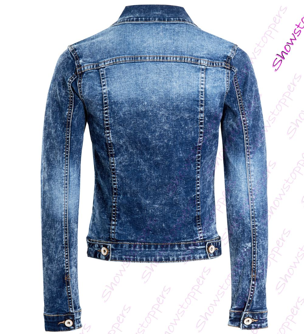 640d2ee3750 Womens Fitted Denim Jacket Stretch Mid Blue Jean Jackets Size 8 10 ...