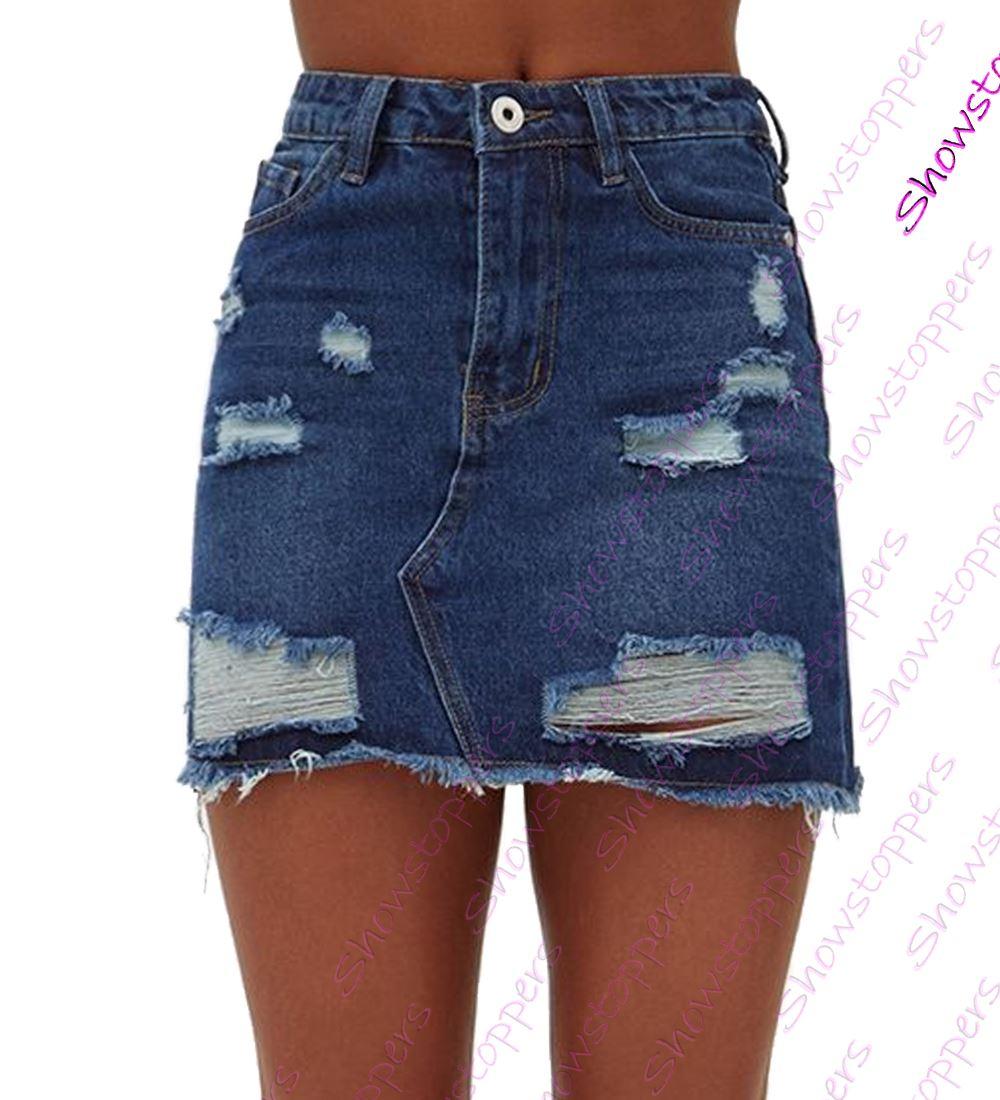 Womens-Distressed-Denim-Skirt-Ladies-Rip-Frayed-skirts-Size-6-8-10-12-14-Indigo