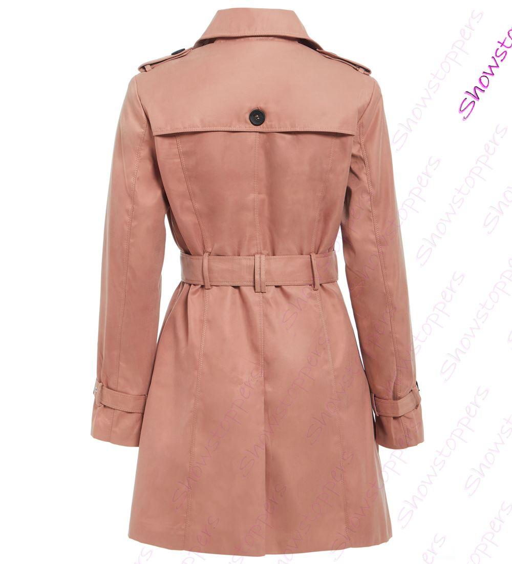 Womens-Trench-Coat-Ladies-Mac-Jacket-Size-8-10-12-14-16-Beige-Salmon-Blue miniatuur 15