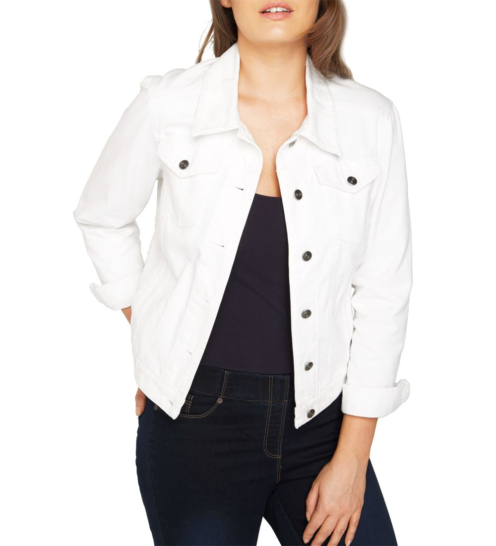 NEW-Plus-Size-16-18-20-10-12-14-Denim-Jacket-Women-Jean-Jackets-Ladies-White