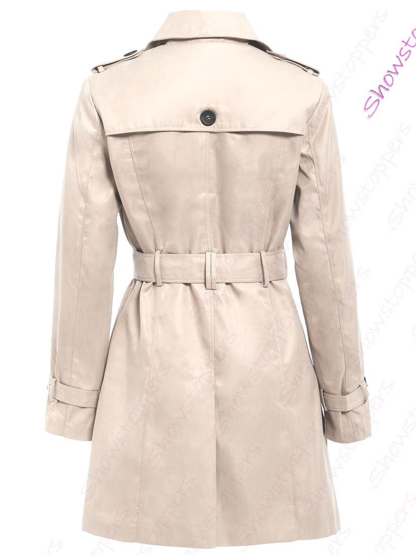 Womens-Trench-Coat-Ladies-Mac-Jacket-Size-8-10-12-14-16-Beige-Salmon-Blue miniatuur 19