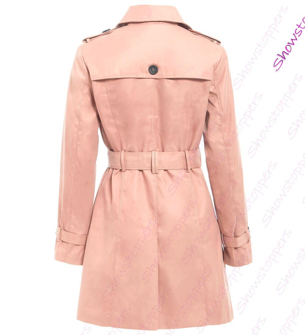 Womens-Trench-Coat-Ladies-Mac-Jacket-Size-8-10-12-14-16-Beige-Salmon-Blue miniatuur 12