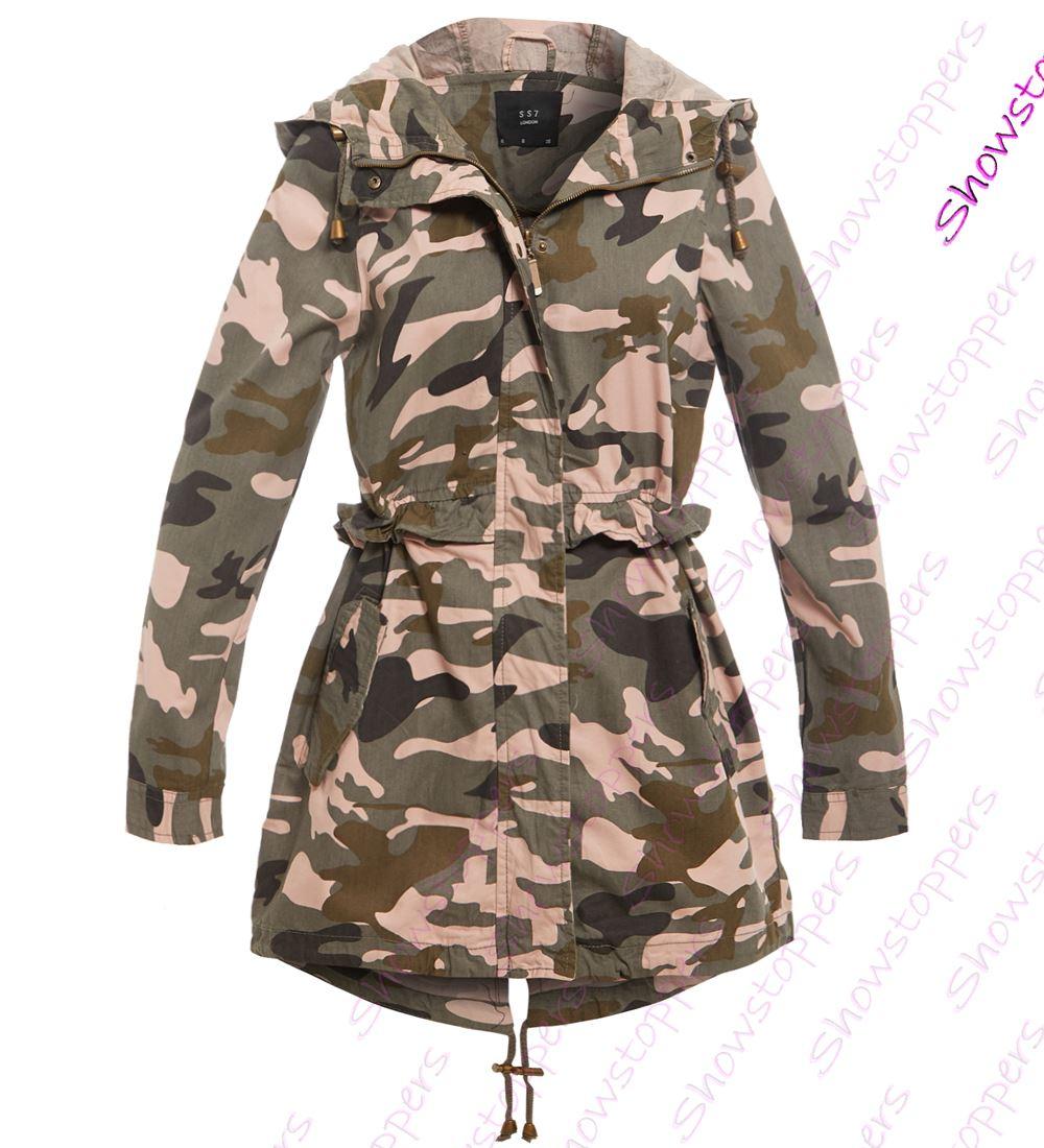 Womens-Trench-Coat-Mac-Canvas-Raincoat-Ladies-Camouflage-Jacket-Size-8-16