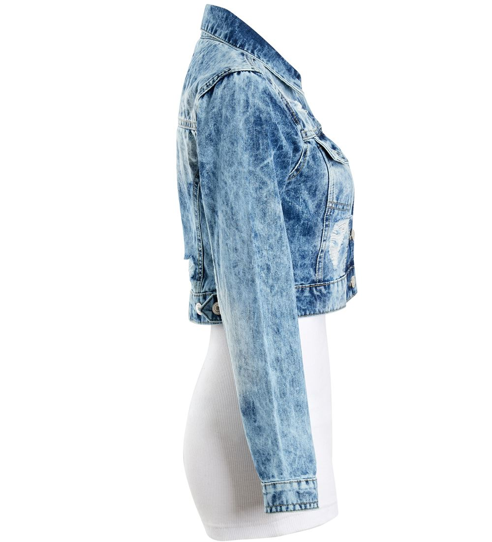 Womens-Acid-Blue-Denim-Jacket-Ladies-Rip-Jean-Cropped-Jackets-Size-6-8-10-12-14 thumbnail 4