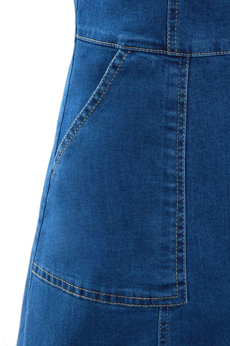 Womens-Denim-Dress-Sleeveless-Pinafore-Dresses-Size-8-10-12-14-Blue thumbnail 6
