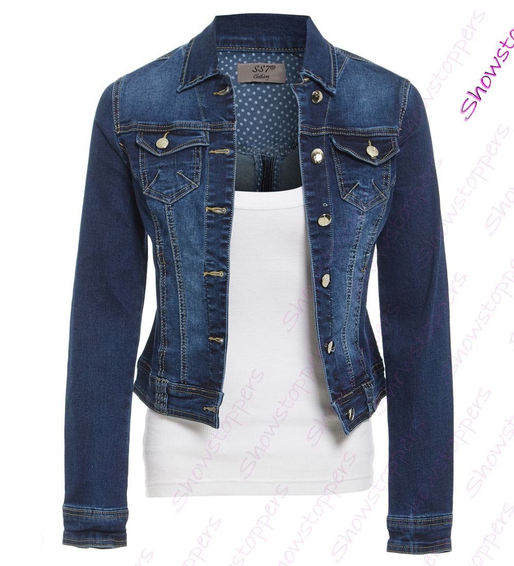 womens indigo denim jacket ladies stretch jean jackets