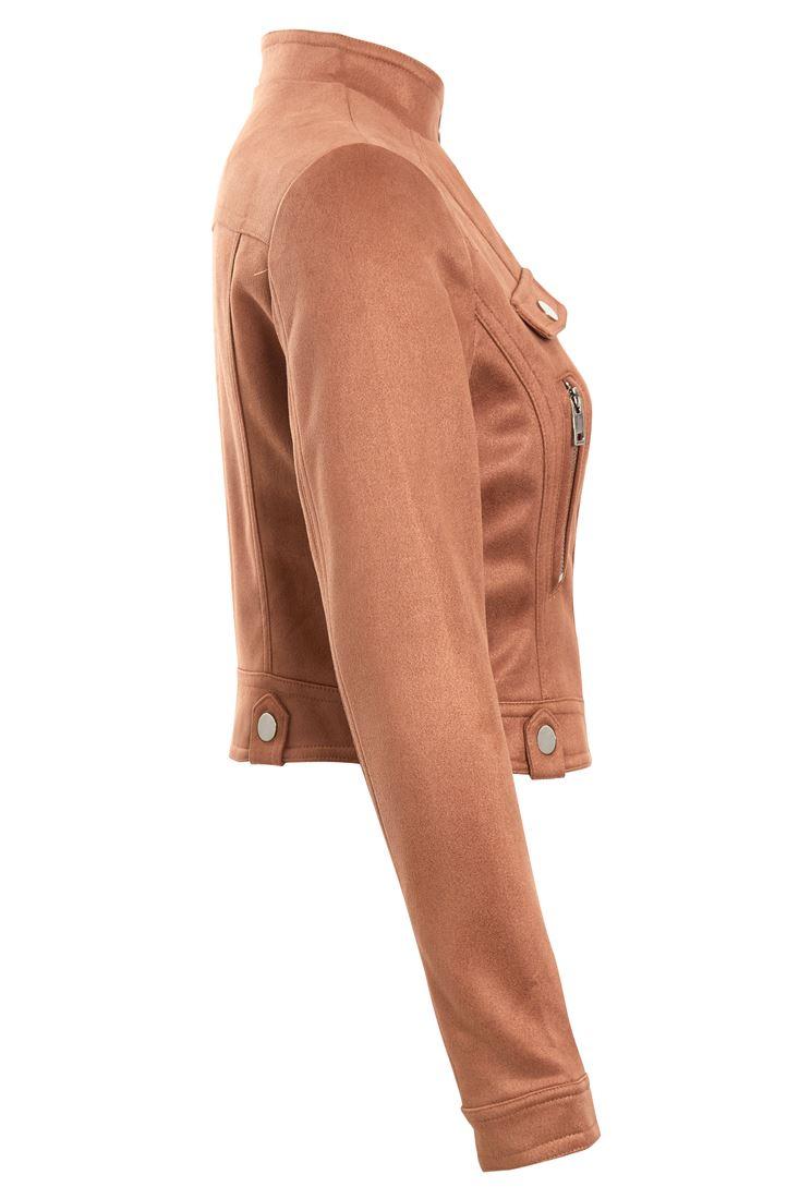 Womens Faux Suede Biker Jacket Crop Ladies Size 8 10 12 14 Black Tan New