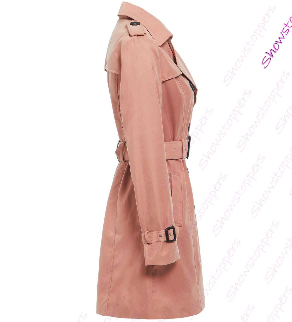 Womens-Trench-Coat-Ladies-Mac-Jacket-Size-8-10-12-14-16-Beige-Salmon-Blue miniatuur 14