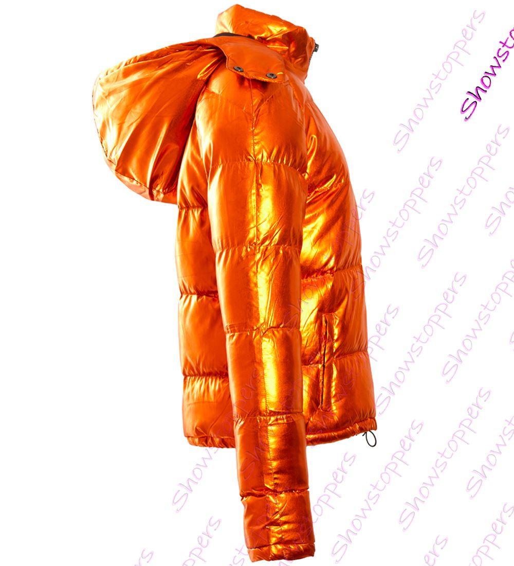 Details zu Womens Puffer Coat Metallic Bubble Parka Jacket Orange Size 8 10 12 14 16