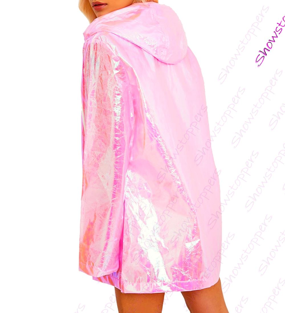 in stock best sell great deals on fashion Details about Womens Holographic Rain Mac Waterproof Raincoat Ladies Pink  Jacket Size 8 - 16