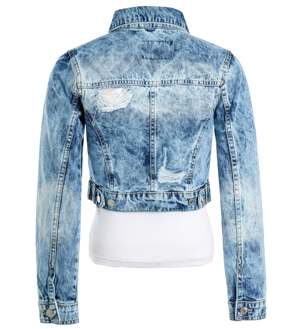 Womens-Acid-Blue-Denim-Jacket-Ladies-Rip-Jean-Cropped-Jackets-Size-6-8-10-12-14 thumbnail 3