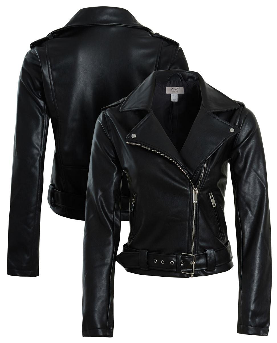 Womens Faux leather Biker Jacket Ladies Black Belt Coat Size 8 10 12 14 New