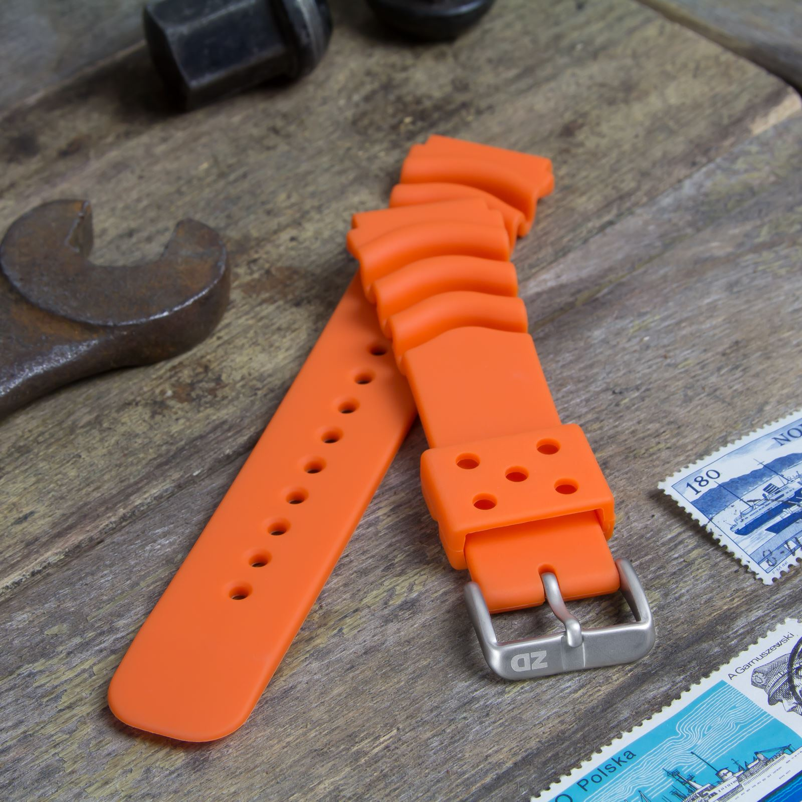 a23c553edc7 Dive Watch Strap by ZULUDIVER for SEIKO Z20 Monster Orange 20mm for ...