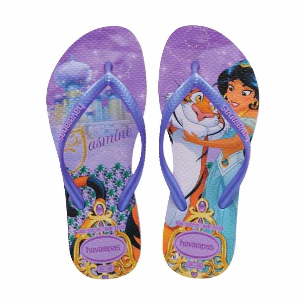 1631b1ea534ed Havaianas Slim Kids Girls Princess Jasmine Tiger Purple Flip Flops Sandals