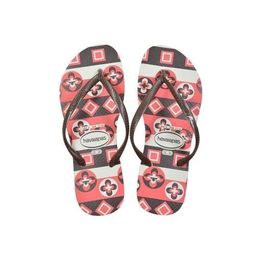 f5fd50a483b1a3 Details about Havaianas Slim Rubber Flip Flops Women Geometric White 35-36  BR 37-38 EU 6 US