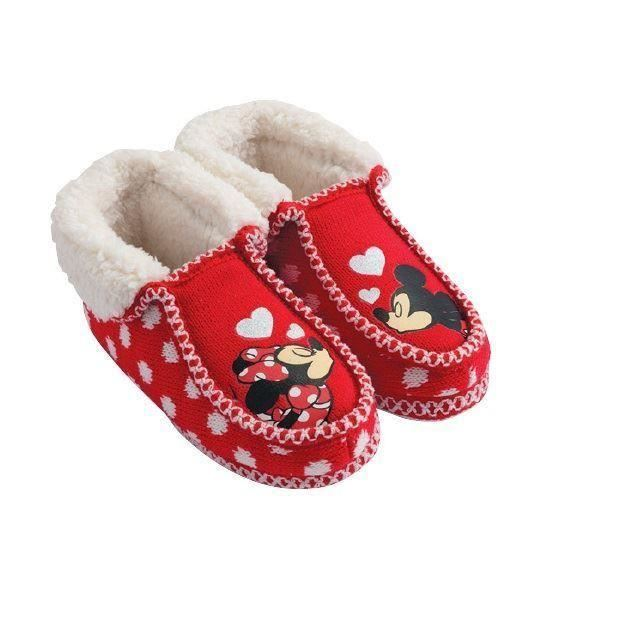 6ec747d432823 Details about Disney Mickey & Minnie Mouse Hearts Fur Kids Moccasins Winter  Slippers Eu Sizes