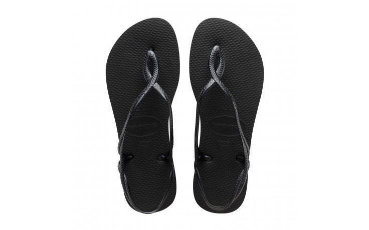 56ffd46854eb Womens Havaianas Luna Flip Flops Black Sandals UK 2 - 3 for sale ...