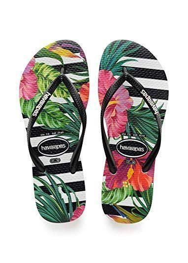 Havaianas Girls Tropic Floral Black Flip Flops Summer Shoes
