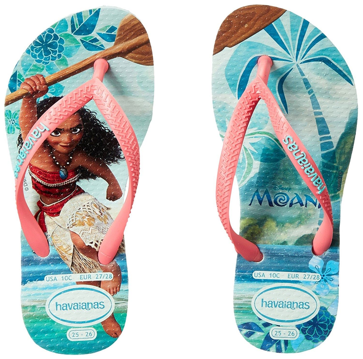 34149997558fe Details about Havaianas Slim Kids Disney Moana Mint Green Rubber Flip Flops  All Sizes