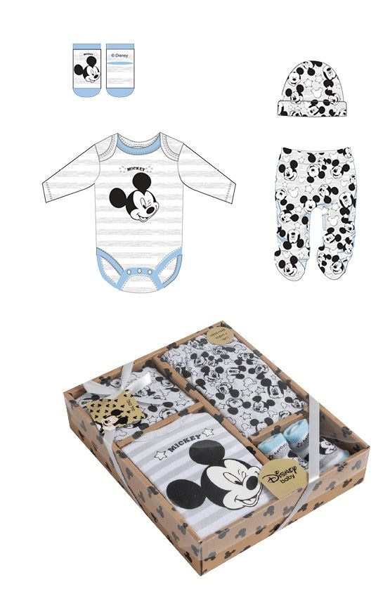 f939df81894a4 Details about Disney Mickey Mouse Baby Boys Newborn Bodysuit Leggings Hat &  Socks Set