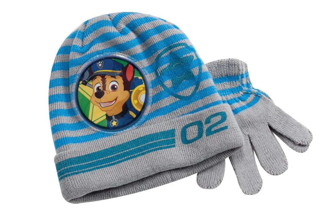 1aa754bae072c Details about Paw Patrol Knitted Grey Winter Hat   Gloves Set Toddlers Boys  One Size
