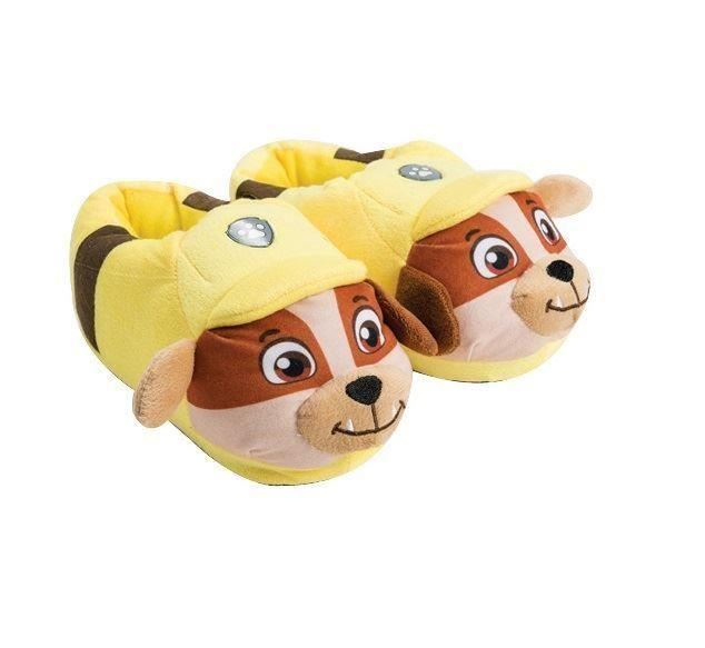 Official Paw Patrol Rubble 3D Plush Kids Toddlers Slippers Slip On Non Slip Sole